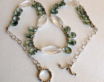 Mystic Green Quartz Necklace with Lots of Sterling Silver, Smokeylady54