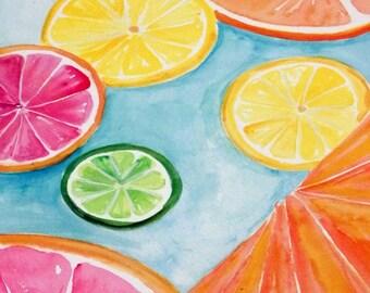 Citrus Watercolors Paintings Ruby Red Grapefruit, Lemon, Orange, Limes original, Watercolor Painting,  Fruit ART, 8 x 20 kitchen decor