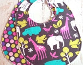 Baby Bibs for Baby Girl  - Set of 2 Triple Layer Chenille  - Zoology Jungle Orchid & Zoology Dots Orchid