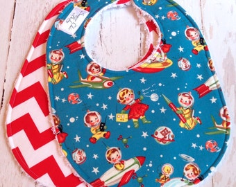 Baby Bib - Spaceship Gender Neutral Bib  -  Set of 2 Triple Layer Chenille Bibs  -  Retro Rocket Rascals & Red Chevron