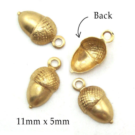 golden raw brass acorn charms