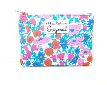 Turquoise and Pink Daisy Poppy Floral Change Wallet, Liberty Coin Purse, Zipper Pouch,  Coin Wallet, Fabric Pouch, Small Zipper Wallet,