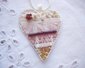 Cream Heart Silk Pendant with Ruby Crystal