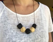 Faceted Geometric Necklace - Black and White