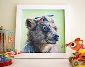 "Bear Art Print, Woodland nursery art, Bear print, Bear Cub Nursery Decor, 8x8"""