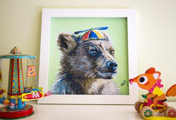 "Bear Art Print, Woodland nursery art, Bear print, Bear Cub Nursery Decor, 12x12"""