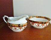 Royal Albert vintage bone china sugar bowl and creamer or milk jug set vintage 50s tableware
