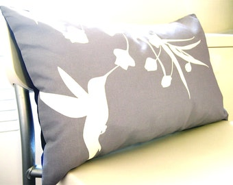 Limited Time Sale  Slate Hummingbird with Eucalyptus Rectangle Pillow