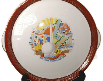 1939 New York World's Fair Plate 1940 Cronin China, NYWF, Collectible Souvenir Cake Plate, 1940 Art Deco,