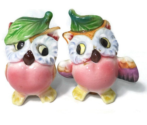 Vintage owl salt and pepper shakers anthropomorphic by duckwells