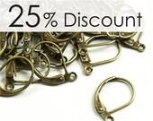 EWBAB-lb - Earwire, Leverback, Antique Brass - 100 Pieces (10pk)