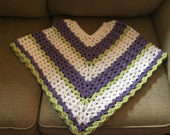 Child Crocheted Poncho, Crocheted Wrap