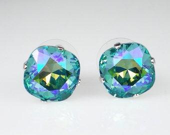 Lt Turquoise Glacier Blue Rhinestone Stud Earrings Swarovski Aqua Blue Green Wedding Jewelry Flower Girl Earrings Bridesmaid Earrings