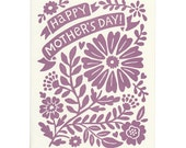 Happy Mother's Day card, letterpress greeting card, blank inside, floral pattern, moms, mother, purple, flowers, lilac, violet, daisy, love