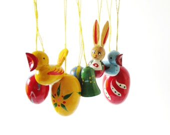 German Wood Ornaments - Many Colors! Eggs Rabbits Chicks Bunnies Erzgebirge Easter Eggs Bunny Decorations Red Blue Yellow Green Pastels