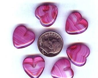 Adorable Plump Fuchsia Rose Pink Lampwork Heart Beads 15mm 6pcs