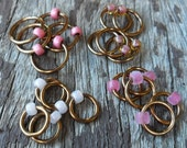 Dangle Free Knitting Stitch Markers Pink Mix Bronze Wire Four Different Sizes Twenty Markers