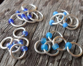Dangle Free Knitting Stitch Markers Blue Mix Silver Tone Wire Four Different Sizes Twenty Markers