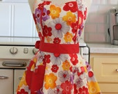Retro Apron Bright Flowers on White MAGGIE