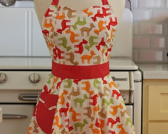 Retro Apron Bambi Deer on White - BELLA