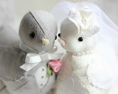 Love birds cake topper - Fabric birds - Rustic Wedding - Light Grey Linen and Ivory Silk Dupion - MADE TO ORDER