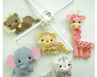 SAFARI FUN ANIMALS Musical Baby Mobile, Jungle Nursery, Safari Room, Zoo Animals, Baby Crib Hanging Mobile, Baby Nursery or Playroom Decor
