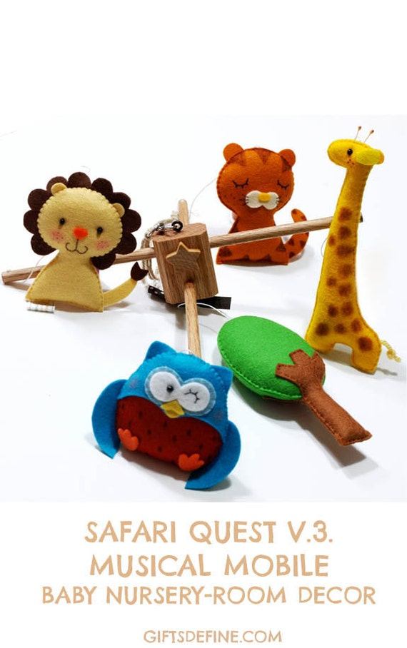 Musical Baby Mobile SAFARI QUEST V3  (artist choice colors)  - Handmade Wool Felt Mobile for the Crib, Kids Playroom or Baby Nursery Decor