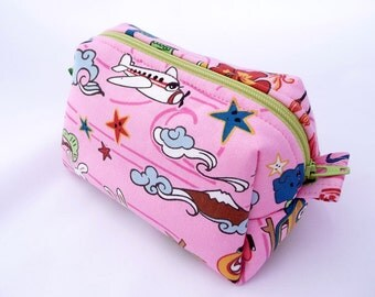 Small Boxy Cosmetics Bag, Pink Makeup Pouch, Kawaii Toiletry Bag,
