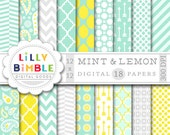 40% off MINT digital scrapbook papers yellow and gray chevron, quatrefoil, paisley DIGITAL DOWNLOAD