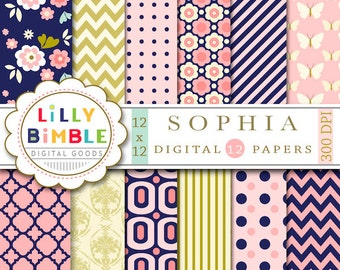 60% off Modern floral Digital Papers navy gold pink salmon chevron, flowers SOPHIA  Instant Download