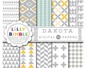 60% off Tribal Digital Paper, geometric, native american, triangles, in gray, yellow, turquoise, Paper Pack, Scrapbook, Commercial Use, Dako
