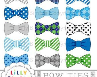 Bow ties clipart 15 bowties blue, gray, striped, polka dots commercial use included INSTANT DOWNLOAD