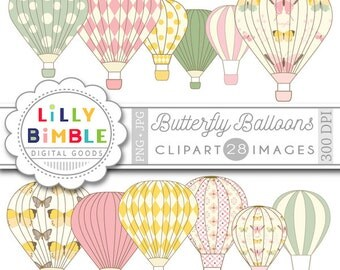 60% off Hot Air Balloon clipart BUTTERFLY BALLOONS 28 png and jpg clipart images for scrapbooking, cards Instant Download