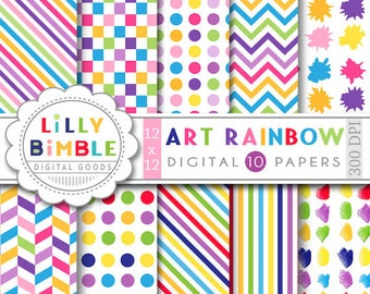 40% off Art party digital papers scrapbooking birthday parties, rainbow colors, polka dots, chevron Instant Download