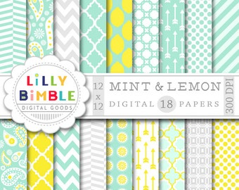 40% off Mint and Lemon Digital Paper, Yellow and grey scrapbook paper, modern geometric paper pack, commercial use