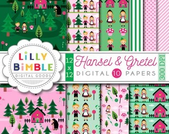 Hansel and Gretel digital paper Fairy Tale candy INSTANT DOWNLOAD witch kawaii scrapbook