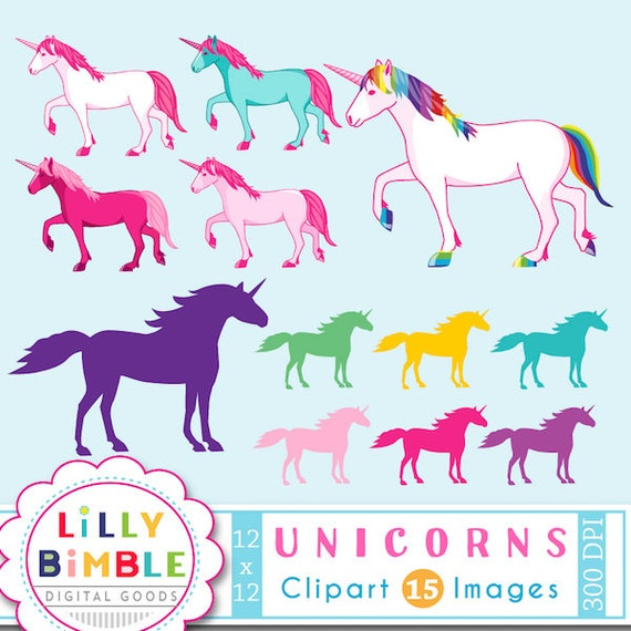 50% off Unicorn clipart for birthdays, crafts and design. Rainbow Unicorns and Silhouettes INSTANT DOWNLOAD