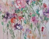 Acrylic Abstract Floral Painting Giclee Print Made To Order Textured Peony Print Impressionist Fine Art Print Wall Decor by Linda Monfort