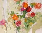 Acrylic Abstract Floral Painting Giclee Print Made To Order Pink Red Peach Roses Impressionist Fine Art Print Wall Decor by Linda Monfort