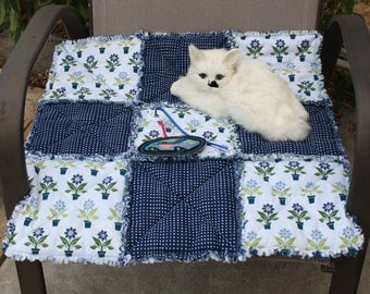 Blue and White Cat Blanket, Cat Blanket, Catnip Blanket, Cat Accessories, Pet Bedding, Small Dog Bed, Pet Travel Blanket, Dog Accessories