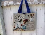 "Upcycled 2001 Calendar Tote, 15""x12"", Recipe for Happiness, 2001 calendar wall hanging, grocery tote bag, library tote bag, OOAK"