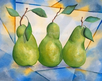 Pears ORIGINAL 11x14 modern blue yellow green pear fruit Watercolor Painting by Melanie Pruitt ebsq sfa