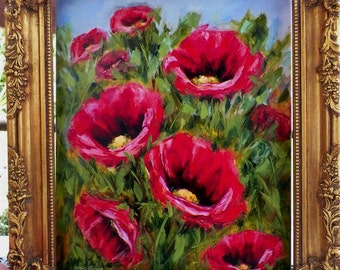 Poppy Fields Red Poppies Large Original Oil Painting Abstract Flower Art by Arist Debra Alouise