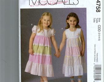 McCall's Girls' Dresses Pattern M4758