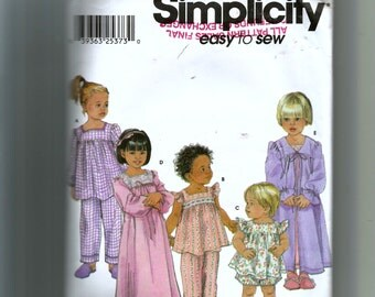 Simplicity Toddlers' Pajamas In Two Lengths, Nightgown and Robe Pattern 9968