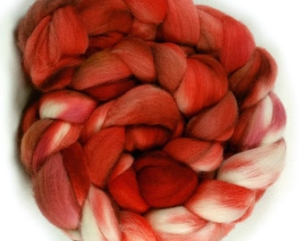 Merino Wool Roving - Hand dyed Wool for Spinning and Felting, Hand Painted Combed Top