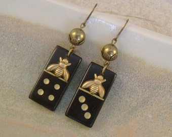 Lucky Seven Domino Effect - Antique Wooden Dominoes Brass Bees Swarovski Pearls Beadcaps Recycled Repurposed Earrings