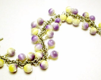 Lovely Lavender and Yellow Catseye Bracelet