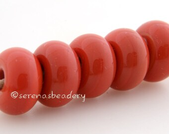 Lampwork Spacer Glass 5 FIRECRACKER CORAL Red Glossy & Matte Donut Rondelle Beads