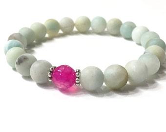 Amazonite Bracelet with Rose Quartz focal bead. Semi-precious stone handmade bracelet. 8mm matte finish beads. Stretch Bracelet.